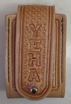 carved leather cell phone case - Chris