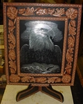 Leather Frame, Eagle scratch art leather framed picture