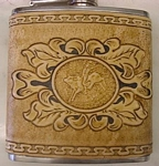 carved leather flask
