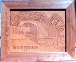 custom leather picture carving, roseman bridge carved in leather
